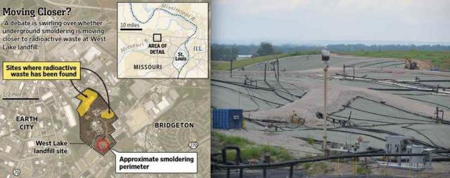 Ground Zero of a landfill with a long-burning underground fire that threatens an adjacent Cold War-era nuke waste dump just outside of Ferguson, MO