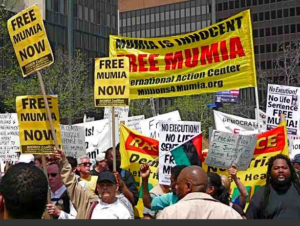 Protest outside federal courthouse in downtown Philadelphia demanding the release of Mumia Abu-Jamal, who is widely considered a