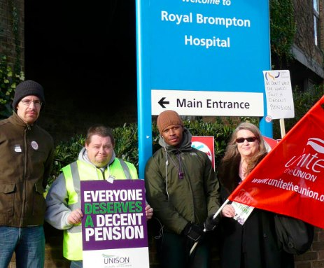 NHS General Strikers (from left) Sam Wheeler, Steve Caddick, Abdul Sesay and Jeanette Anderson
