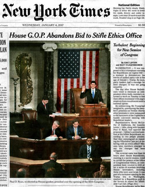 Saluting Ryan and a Classic Fasces, The New York Times, January 4, 2017