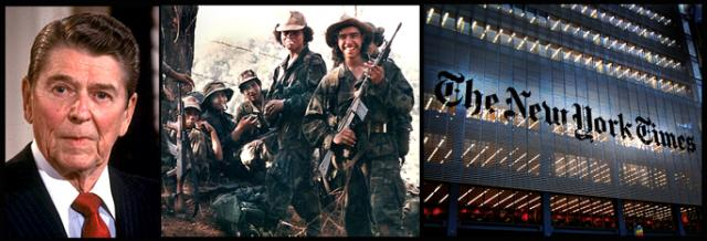 President Reagan, his beloved Contras and the Times building in New York