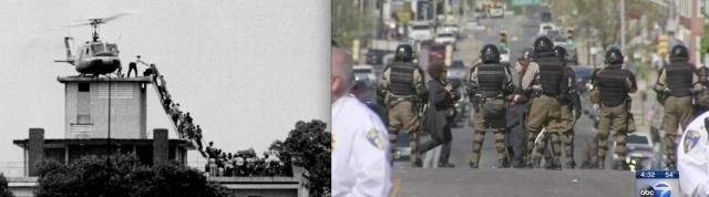 Final US retreat from the roof of the Embassy in Saigon in '75, and Guard troops on a Baltimore street, 2015
