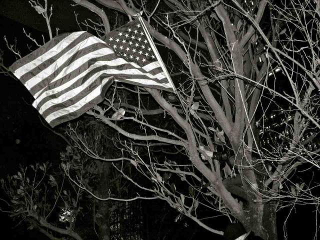 The OKC's American flag is all that remained after the occupiers were driven from the park (photo courtesy Bronwyn Agnew)