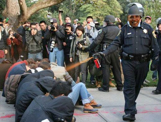 Through his silence alone, Obama is condoning the police abuse of demonstrators of the Occupy Movement