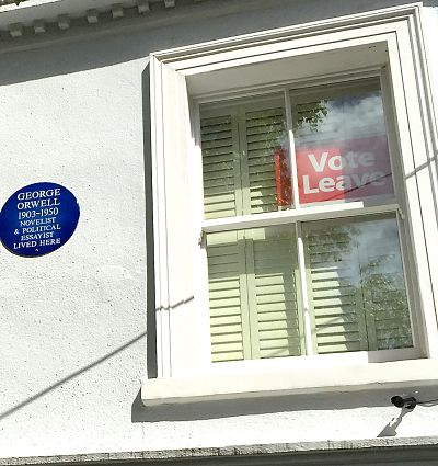 Brexit support sign in former home of author George Orwell. LinnWashingtonPhoto
