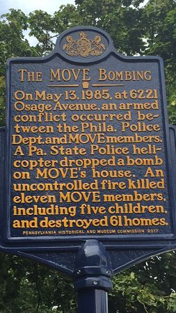Pa State Historic Marker near site of deadly 1985 bombing by police. LBWPhoto