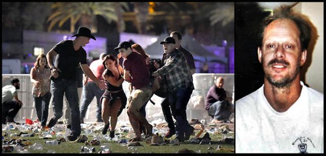 Civilian first responders carrying a wounded victim, and the killer, Stephen Paddock