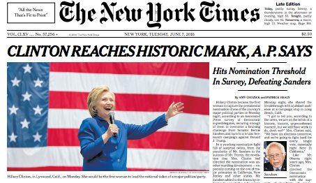 What's wrong with this NY Times story? (Hint: Hillary Clinton still hasn't won the Democratic nomination and could still lose it