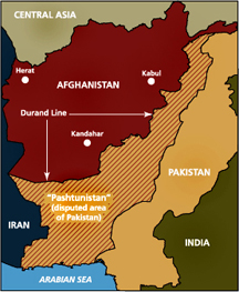 The disputed Pashtun lands in Pakistan. The area centered around Kandahar in Afghanistan is the Afghan part of Pashtunistan