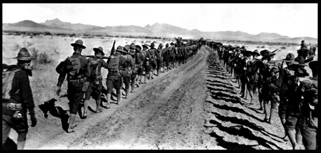 US troops withdrawing from Mexico in 1917 at the end of the failed Pershing expedition
