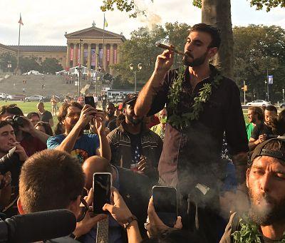 Pot activists N. A. Poe (center) at decrim celebration. LBW Photo
