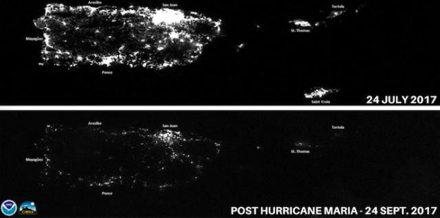 Night satellite images of the island of Puerto Rico taken before and after it was hit by two major hurricanes
