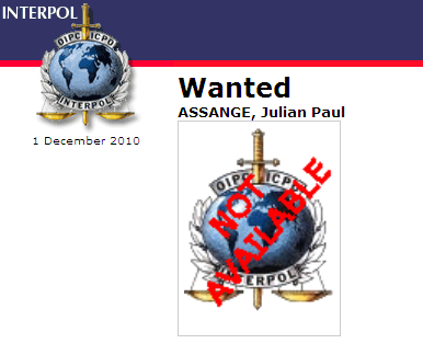 The Interpol Red Alert page on Assange. Curiously, the agency couldn't find a photo to accompany the alert.