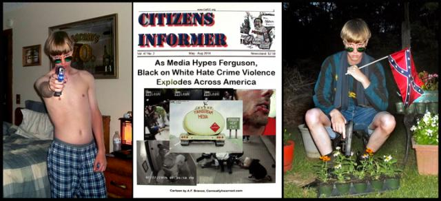 """You talkin' to me!""  Dylann Roof posturing with his new Glock and the Council of Conservative Citizens website"