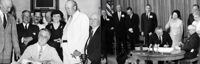 President Roosevelt signs the Social Security Act (1935) and President Johnson signs the Medicare Act (1965)