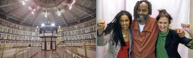 SCI-Mahoney Prison, where Mumia is serving a life sentence, pictured here with two members of his legal team, Johanna Fernandez