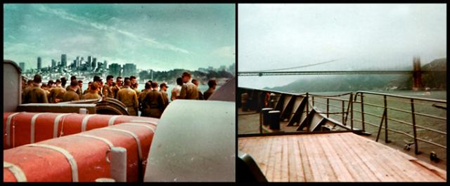Aboard the WWII-era USNS Hugh J. Gaffey headed under the Golden Gate to Vietnam, August 1966