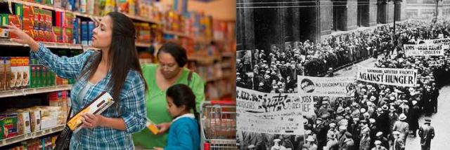 Switching from offering struggling families SNAP cash cards to distributing canned goods will lead to rebellion by the poor as during the Depression era