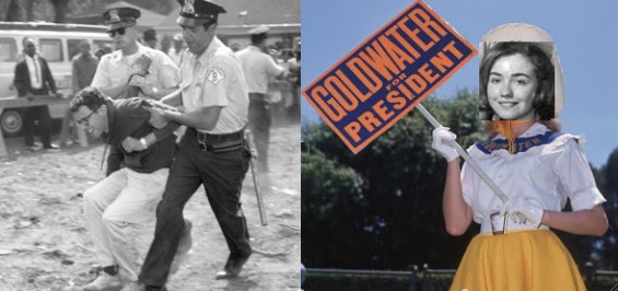 In '63, Bernie Sanders was busted for leading a protest against Chicago U's segregated housing, in '64 Hillary Rodham Clinton was a 'Goldwater Girl'