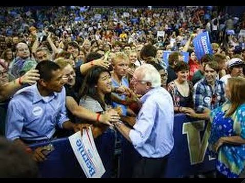 A movement in the making?: Bernie Sanders greets supporters at a rally of 17,000 at Temple University in Philadelphia
