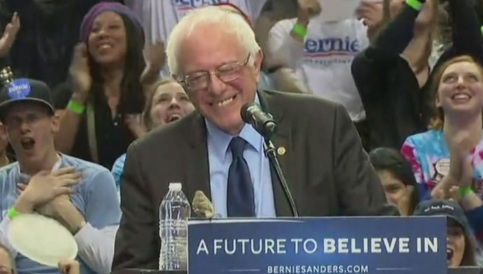A sparrow that landed on Sanders' lectern in a Seattle stadium is seen by some as a favorable sign for his campaign (click on im