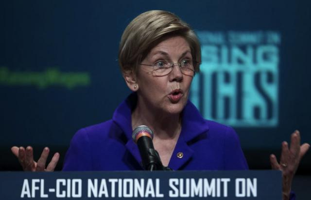 Sen. Elizabeth Warren (D-MA) warns union workers at an AFL-CIO conference that not all Democrats are on their side
