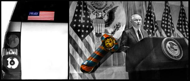 A call to prayer, a pipe and Sessions in the Times. (Photo left, Lou Ann Merkle, right, John Grant)
