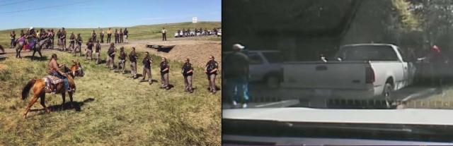Sioux resistance continues at Standing  Rock, ND (L) and image of Keith Scott at the moment he was shot dead by Charlotte NC police