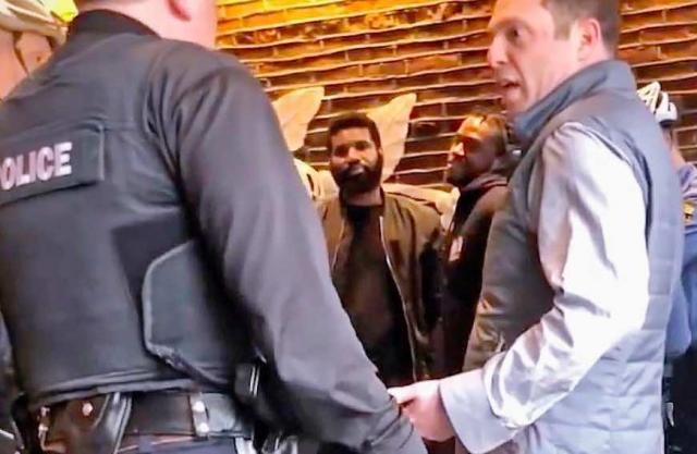 Developer Andrew Yaffee objects to police arresting two men waiting to meet him for to discuss a business deal at a Philly Starbucks (twitter vid screen grab)