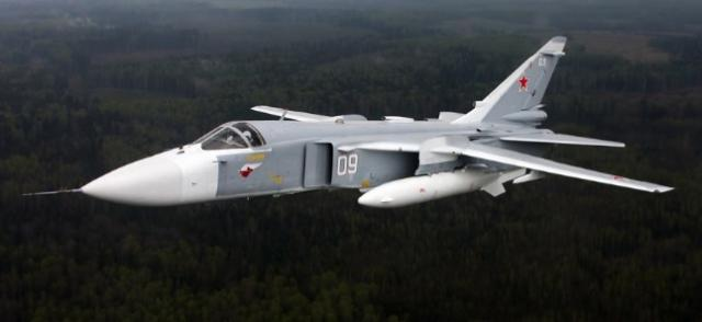 A Russian Sukhoi SU-24, like the one shot down yesterday along the Syrian-Turkey border by two Turkish F-16s