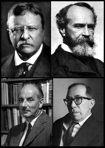 Clockwise from top left: Teddy Roosevelt, William James, Leo Strauss and Lewis Mumford