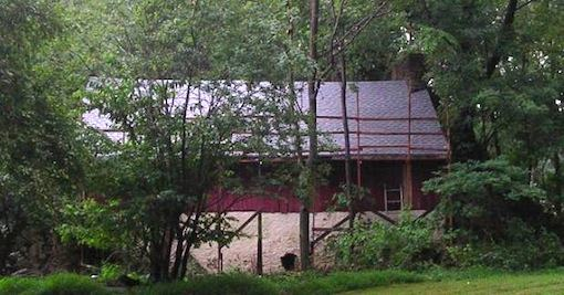 The Lindorff barn, in the midst of a re-roofing project by the author