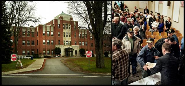 The VA at Togus, Maine, and a shot from the commemorative ceremony featuring Governor LePage