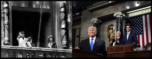 Benito Mussolini bookmarked by fasces, and Donald Trump ane one of the two fasces in the US House