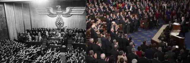 Two images, two legislatures, two speeches, same ugly reality