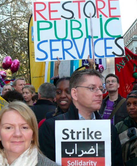 Public workers prepare to march through Central London in Wednesday's UK General Strike (photos by Washington)