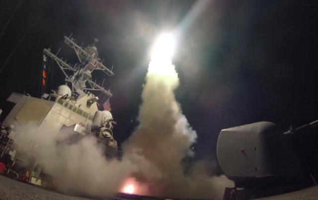 US destroyer launching cruise missile at Syria (US Navy photo)