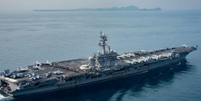The USS Carl Vinson, somewhere in the Pacific...or the Indian Ocean