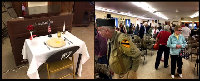 The POW/MIA guest setting; and attendees at the Memorial Day event (Photos: Michael Uhl)