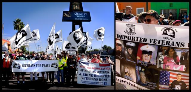 Veterans For Peace march to the wall; carrying a banner for deported US soldiers