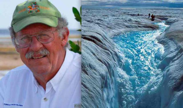 Miami University's Prof. Harold Wanless, and a view of Greenland's ice melt, showing how dirty the survacethat huge ice sheet is