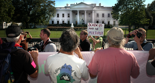 Occupation marchers pass the White House