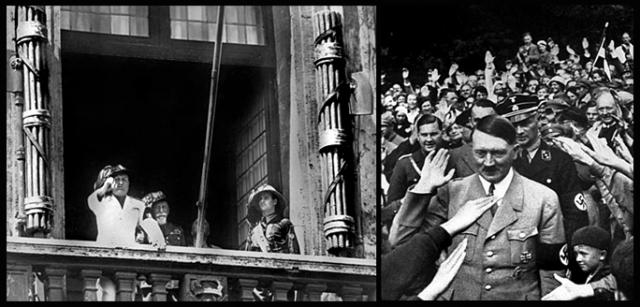 Benito Mussolini with fasces left and right; and Adolf Hitler giving his famous salute