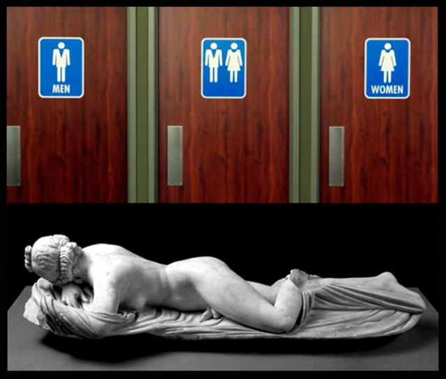 "Current bathroom options and a Greek statue, ""The Sleeping Hermaphrodite."""