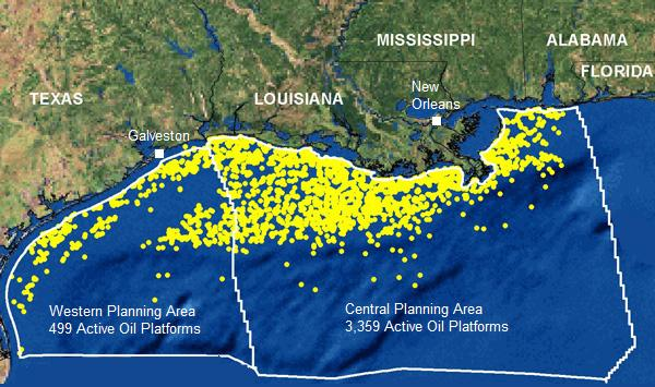 Active oil rigs in the Gulf of Mexico