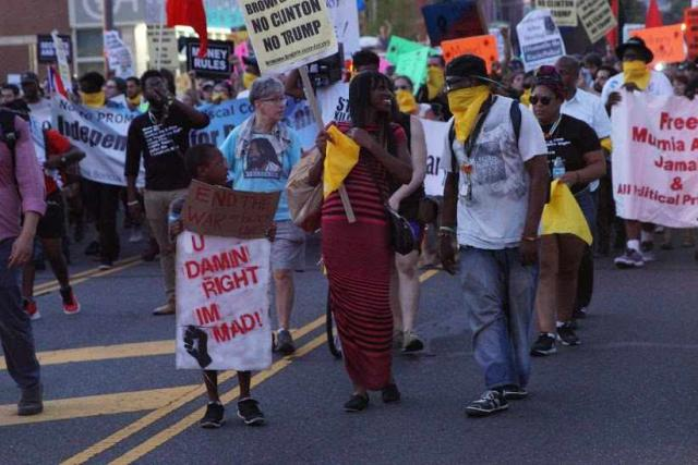 Bernie or Bust protesters, Sanders delegates who had walked out of the Convention in protest, and Black Lives Matter protesters marched together (photo by Akhil Kalepu)