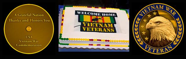 The Welcome Home cake and the commemorative pin, back and front