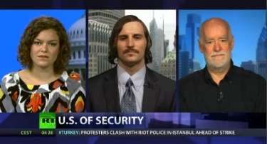 "Dave Lindorff talks about the US national security state on RT-TV's ""Crosstalk"" program (to play, click on the image)"