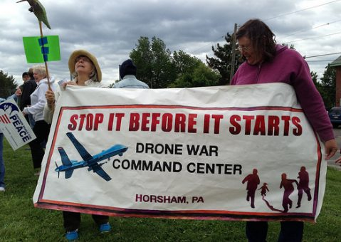 Anti-drone war demonstration challenges plans to make Philadelphia a front in America's drone wars (photo by Rob Kall)