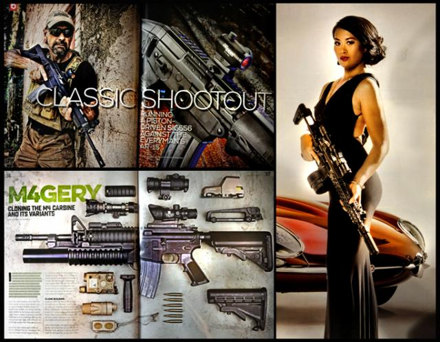 Pages from today's super-slick magazines glorifying the ubiquitous AR15